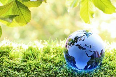 緑に囲まれた地球