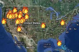 米西部の山火事エリア