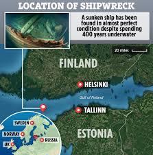 バルト海で発見された400年前の船の場所