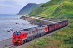 ロシア極東サハリン(樺太)を走る狭軌幅の列車
