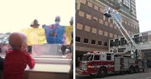 がんと闘う4歳児のため、はしご車で5階病室へ