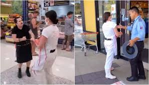 肉屋の店先で動物愛護を訴える女性タッシュ・ピーターソン