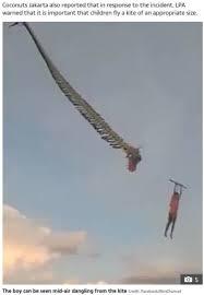 凧に絡まって宙を舞う少年