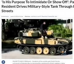 閑静な住宅街に現れた戦車