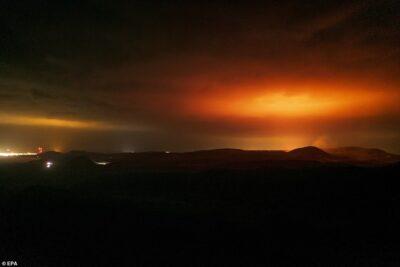 アイスランドの首都レイキャビク近郊の火山噴火。
