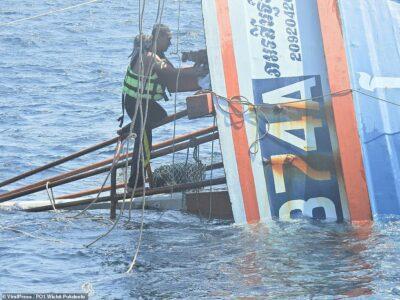 タイ南部のアマンダ海で漁船が沈没