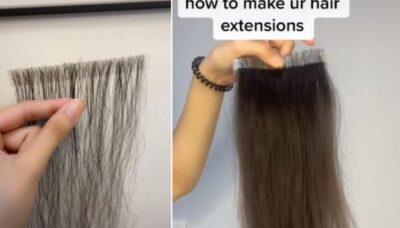 抜け落ちた自分の髪の毛を1年間集め続けた女性 エクステを作り上げヘアドネーション