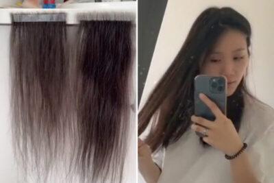 抜け落ちた自身の髪の毛を拾い集めてオリジナルのヘアーエクステンション
