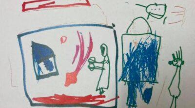 両親からの虐待を受けていた香港の5歳女児が描いていた絵。