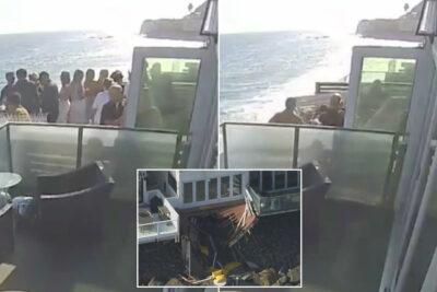 人で溢れたバルコニーが限界を迎える崩落の瞬間動画(米カリフォルニア州)