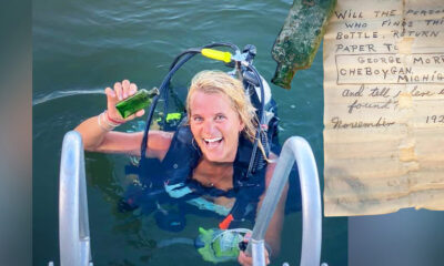水底で見つけたメッセージボトル、95年の時を経て差出人の娘に届く