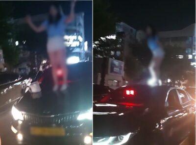 韓国で女性がタクシーによじ登り大暴れ、「止めたらセクハラで訴える」と脅し